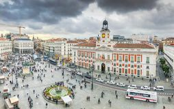 La Puerta del Sol from Above. Madrid, Spain, 17 October, 2018. The Puerta del Sol square is the main public square in the city of Madrid, Spain. In the middle of royalty free stock photography