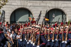 Soldiers marching in Spanish National Day Army Parade. Madrid, Spain - October 12, 2017: Soldiers marching in Spanish National Day Army Parade. Several troops Stock Images