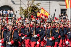 Mountain soldiers marching in Spanish National Day Army Parade. Madrid, Spain - October 12, 2017: Soldiers in traditional costume marching in Spanish National Stock Photo
