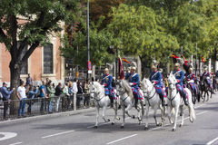 MADRID, SPAIN - OCTOBER 12: Spanish Royal Guard cavalry (Guardia Real) on the Spanish National day royalty free stock photos