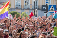 Madrid, Spain - October 26, 2016 - Students keeping hands up at protest against education politics in Madrid. Madrid,Students keeping hands up at protest against Royalty Free Stock Image