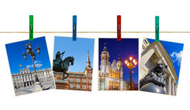 Madrid Spain photography on clothespins Royalty Free Stock Photography