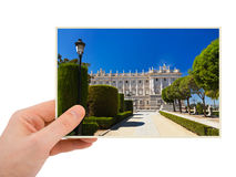 Madrid Spain photography in hand Royalty Free Stock Images
