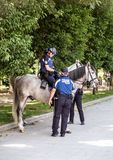 2017.06.01, Madrid, Spain. Policemen with horse in the park. Cityscape of Madrid. royalty free stock images