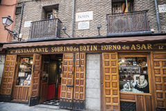 Madrid,Spain. Restaurant Sobrino de Botin, founded in 1725, oldest restaurant continuously operating in the world. Exterior facade,Madrid Royalty Free Stock Photos