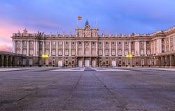 Madrid Spain Royal Palace at dusk Royalty Free Stock Photos