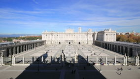 Madrid Spain - Royal Palace of Madrid. Landmark building and a main Spanish tourist attraction Palacio Real de Madrid. stock video footage