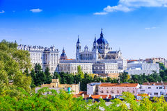 Madrid, Spain. Santa Maria la Real de La Almudena Cathedral and the Royal Palace royalty free stock image