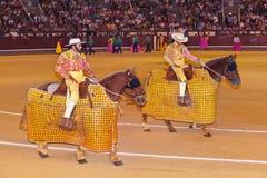 MADRID, SPAIN - SEPTEMBER 18: Matador and bull in bullfight on S Royalty Free Stock Image