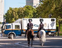 MADRID, SPAIN - SEPTEMBER 26, 2017: Mounted police in the center of Madrid. Copy space for text. Stock Images