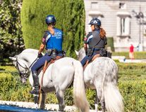 MADRID, SPAIN - SEPTEMBER 26, 2017: Mounted police in the center of Madrid. Copy space for text. Stock Image