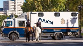 MADRID, SPAIN - SEPTEMBER 26, 2017: Mounted police in the center of Madrid. Copy space for text. Stock Photos
