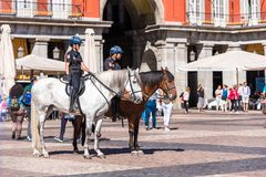 MADRID, SPAIN - SEPTEMBER 26, 2017: Mounted police in the center Royalty Free Stock Image