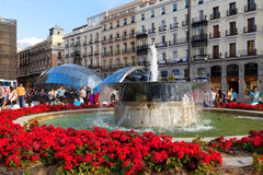 MADRID, SPAIN -SEPTEMBER 8: Puerta del Sol, Madrid, one of the f Royalty Free Stock Photos