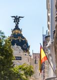 MADRID, SPAIN - SEPTEMBER 26, 2017: View of Metropolis building. Copy space for text. Vertical. Royalty Free Stock Image