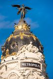 MADRID, SPAIN - SEPTEMBER 26, 2017: View of Metropolis building. Copy space for text. Vertical. Royalty Free Stock Photography