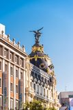 MADRID, SPAIN - SEPTEMBER 26, 2017: View of Metropolis building. Copy space for text. Vertical. Stock Photography