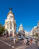 MADRID, SPAIN - SEPTEMBER 26, 2017: View of Metropolis building. Copy space for text. Vertical. Stock Photo