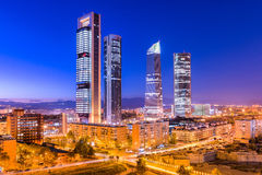 Madrid, Spain skyline. Madrid, Spain financial district skyline at twilight Stock Photos
