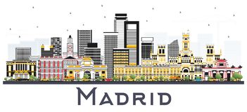 Madrid Spain Skyline with Gray Buildings Isolated on White. Madrid Spain Skyline with Gray Buildings Isolated on White Background. Vector Illustration Stock Photography