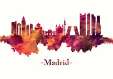 Madrid Spain skyline in red stock illustration