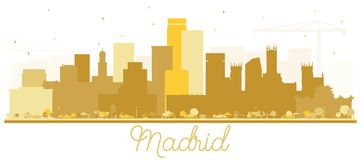 Madrid Spain Skyline Silhouette with Golden Buildings Isolated o royalty free illustration