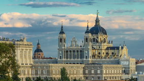 Madrid, Spain skyline timelapse at Santa Maria la Real de La Almudena Cathedral and the Royal Palace. Madrid, Spain skyline timelapse at Santa Maria la Real de stock video
