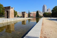 Madrid. Spain -Temple of Debod, Egyptian temple rebuilt. Ancient architecture Royalty Free Stock Image