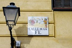 Tiled Calle de la fe sign of Madrid royalty free stock photography