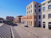 Madrid. Spain, Madrid, View of the Estacion del Norte, now Principe Pio train Station and Shopping Center royalty free stock photos