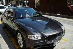 Madrid, Spanien - 24. August 2017: schwarzes Maserati Quattroporte an Lizenzfreie Stockfotos