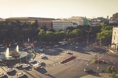 Madrid Spanien - 15, JUNI, 2014: Flyg- sikt av den Cibeles springbrunnen på Royaltyfri Bild