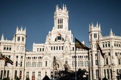 Madrid Spanien - 15, JUNI, 2014 Plaza de Cibeles, Madrid, Spanien Royaltyfri Fotografi