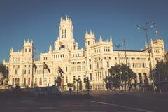 Madrid Spanien - 15, JUNI, 2014 Plaza de Cibeles, Madrid, Spanien Arkivfoto