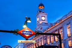 MADRID SPANIEN - 23. JUNI 2015: Sol Metro-Station Stockfotografie