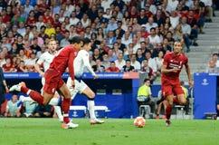 Madrid Spanien - 01 MAJ 2019: Heung-minut son och Virgil van Dijk under den UEFA Champions Leaguefinalmatchen 2019 mellan FC royaltyfri foto