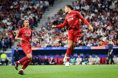 Madrid Spanien - 01 MAJ 2019: Virgil van Dijk spelare under den UEFA Champions Leaguefinalmatchen 2019 mellan FC Liverpool vs arkivfoton