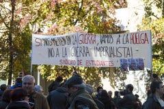 Madrid, Spanien - 28. November 2015 - protestieren Sie gegen syrischen Krieg, IST Terrorismus und islamophobia in Europa, im Madr Lizenzfreie Stockfotos