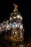 Madrid Spanien på natten Royaltyfri Bild