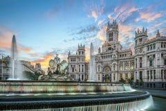 Madrid Spanien på Plaza de Cibeles Arkivbilder