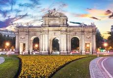 Madrid, Spanje - Één van de centrale straten stock afbeelding