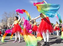 Madrid, Spanje, Chinese Nieuwjaarparade in de buurt van ons stock afbeelding