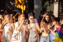 MADRID, SPANJE - JULI 6, 2016: De jaarlijkse vrolijke trots van Madrid (Madrid of Royalty-vrije Stock Foto