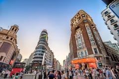 MADRID, SPANJE - JULI 2, 2016: Plaza del Callao - het stadsvierkant Royalty-vrije Stock Afbeelding