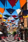 Madrid, Spanje 25 Juli, van achtergrond 2014 kleurrijke stratendecoratie Royalty-vrije Stock Foto
