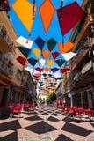 Madrid, Spanje 25 Juli, van achtergrond 2014 kleurrijke stratendecoratie Stock Afbeeldingen