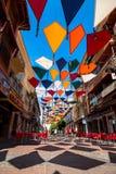 Madrid, Spanje 25 Juli, van achtergrond 2014 kleurrijke stratendecoratie Royalty-vrije Stock Foto's