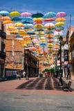 Madrid, Spanje 25 Juli, van achtergrond 2014 kleurrijke stratendecoratie Royalty-vrije Stock Fotografie
