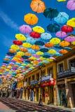 Madrid, Spanje 25 Juli, van achtergrond 2014 kleurrijke stratendecoratie Stock Foto's
