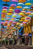 Madrid, Spanje 25 Juli, van achtergrond 2014 kleurrijke stratendecoratie Royalty-vrije Stock Afbeeldingen